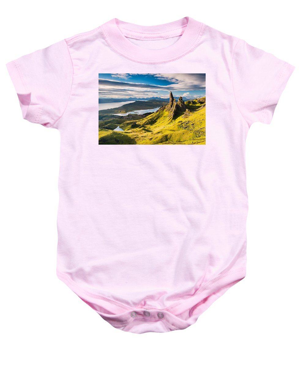 Europe Baby Onesie featuring the photograph Light On The Storr by Michael Blanchette