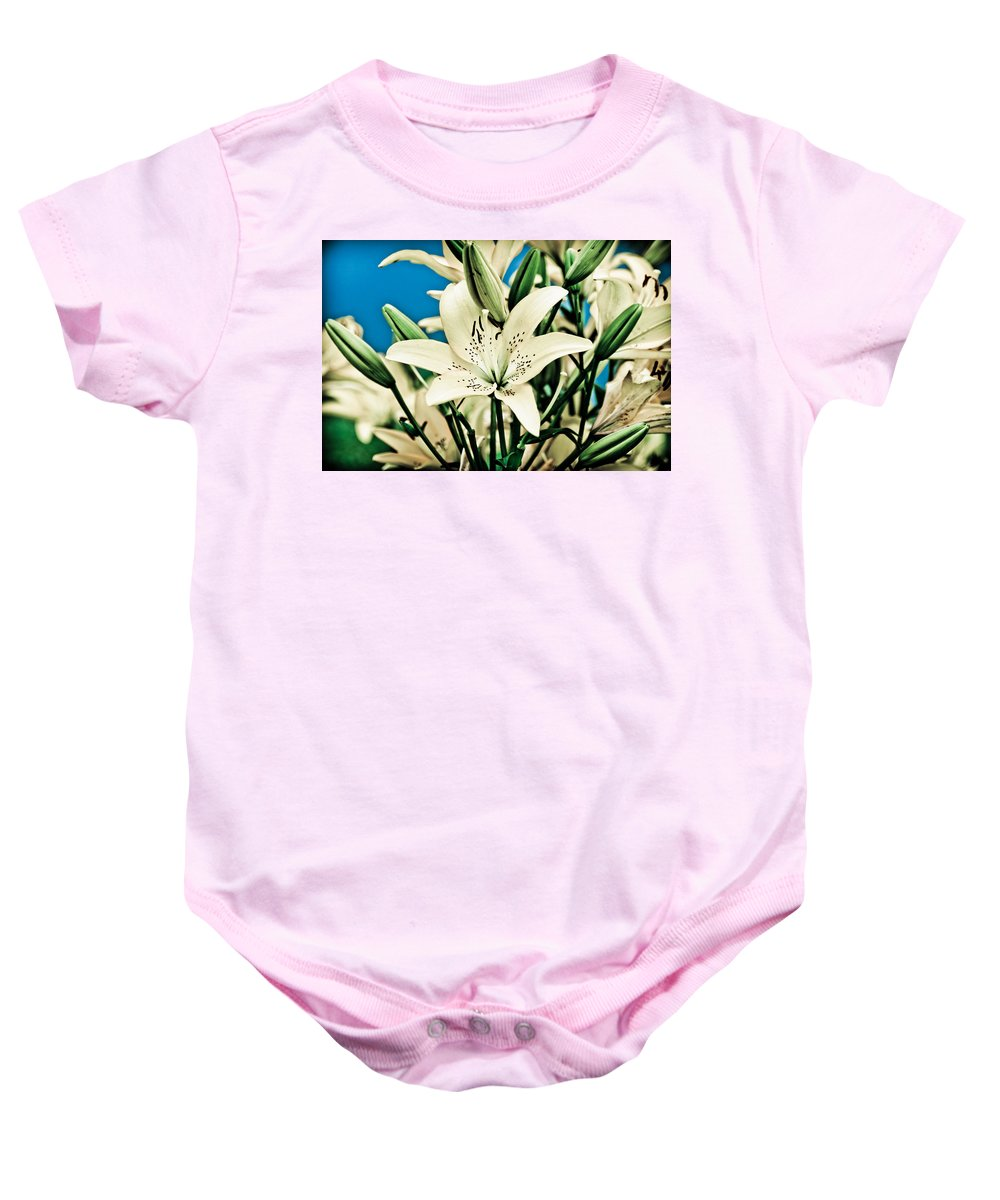 Lily Baby Onesie featuring the pyrography Lilies In White by Shirley Tinkham