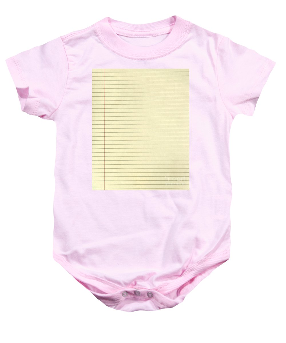 Abstract Baby Onesie featuring the photograph Lined Yellow Paper by Tim Hester