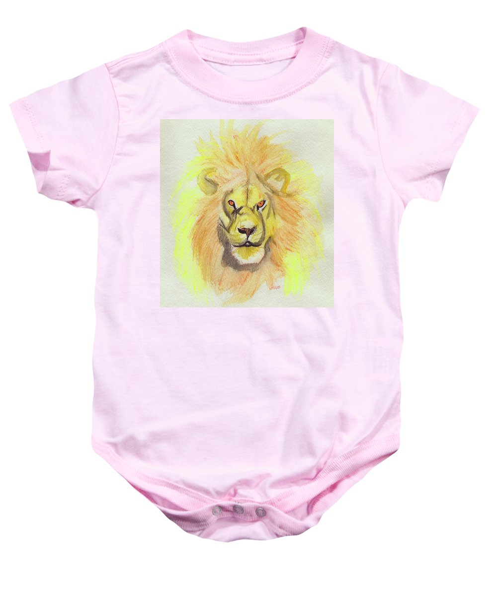 Lion Baby Onesie featuring the painting Lion Yellow by First Star Art