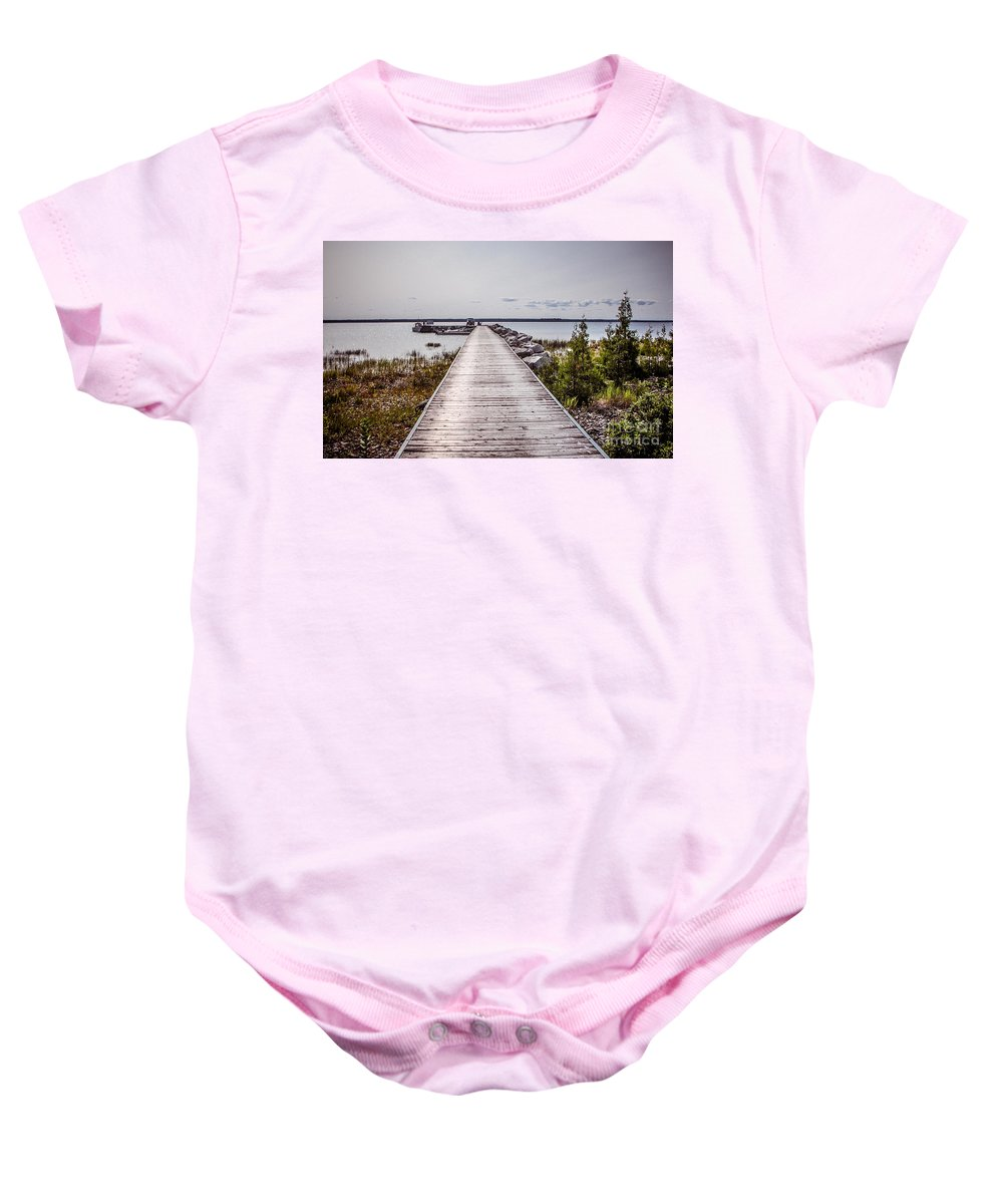 Loading Dock Baby Onesie featuring the photograph Loading Dock by Grace Grogan