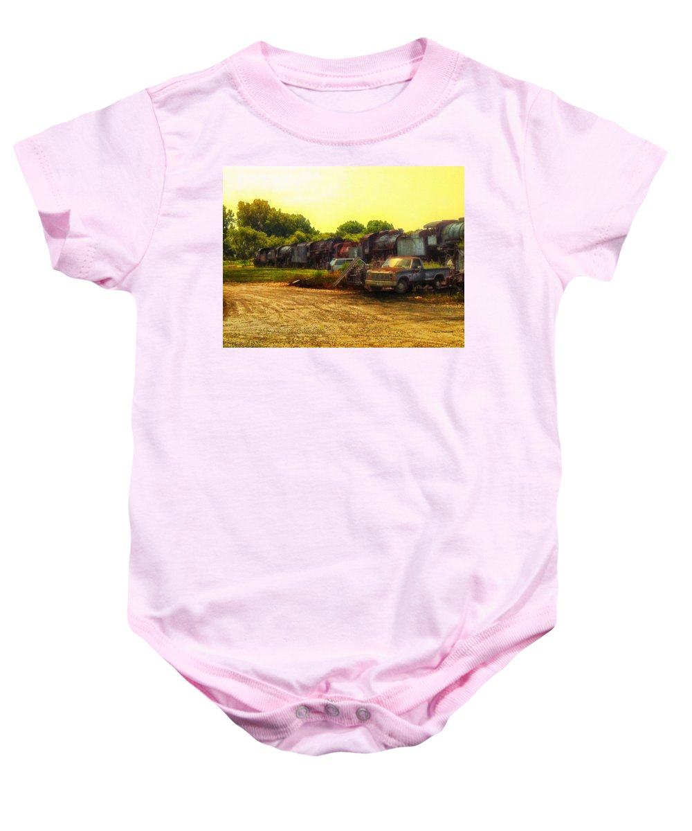 Transportation Baby Onesie featuring the photograph Locomotive Graveyard by Thomas Woolworth