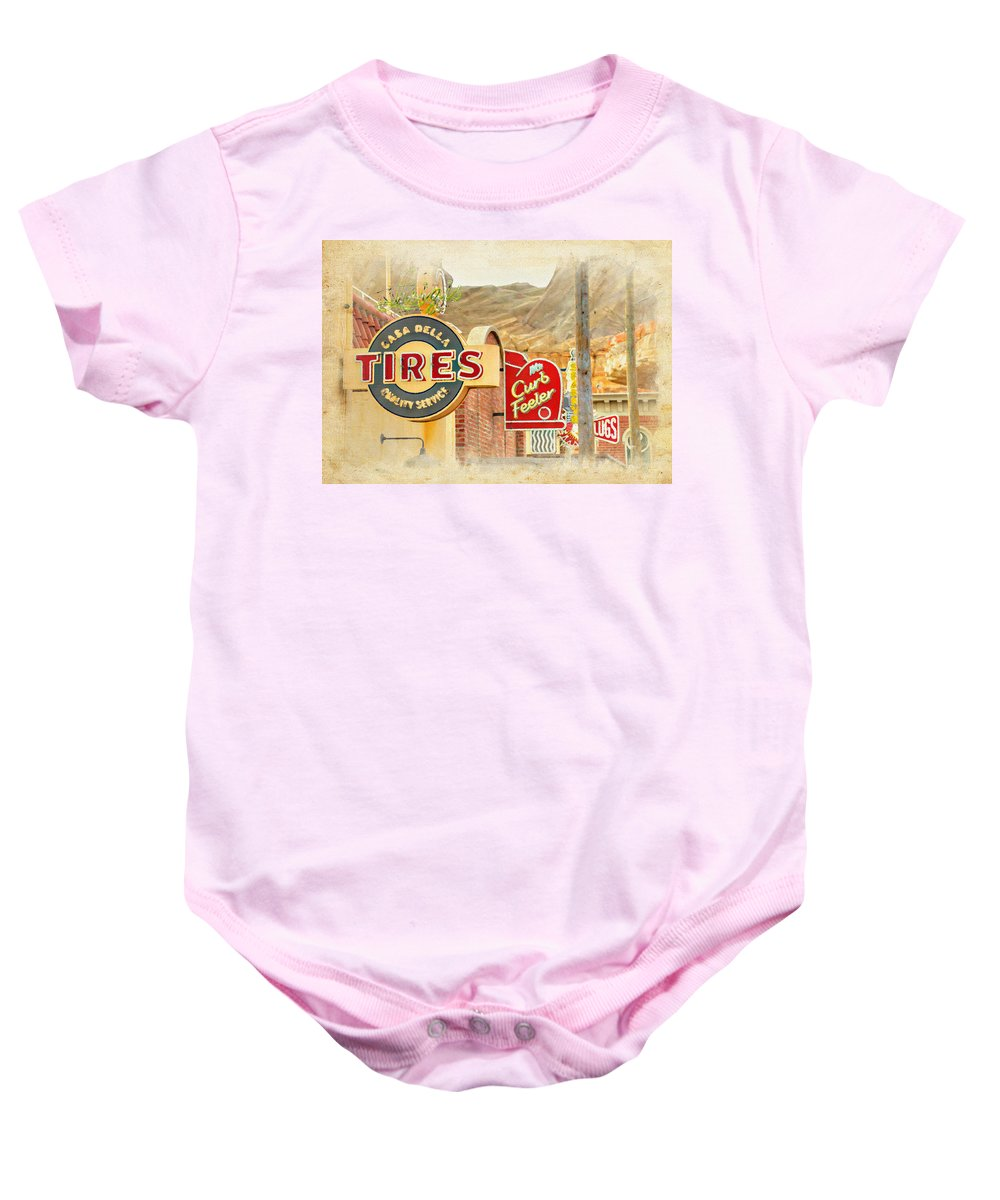 Signs Baby Onesie featuring the photograph Main Street Signs by Ricky Barnard