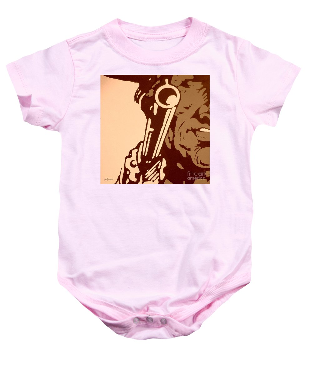 Cowboy Baby Onesie featuring the drawing Make My Day #3 by Robert ONeil