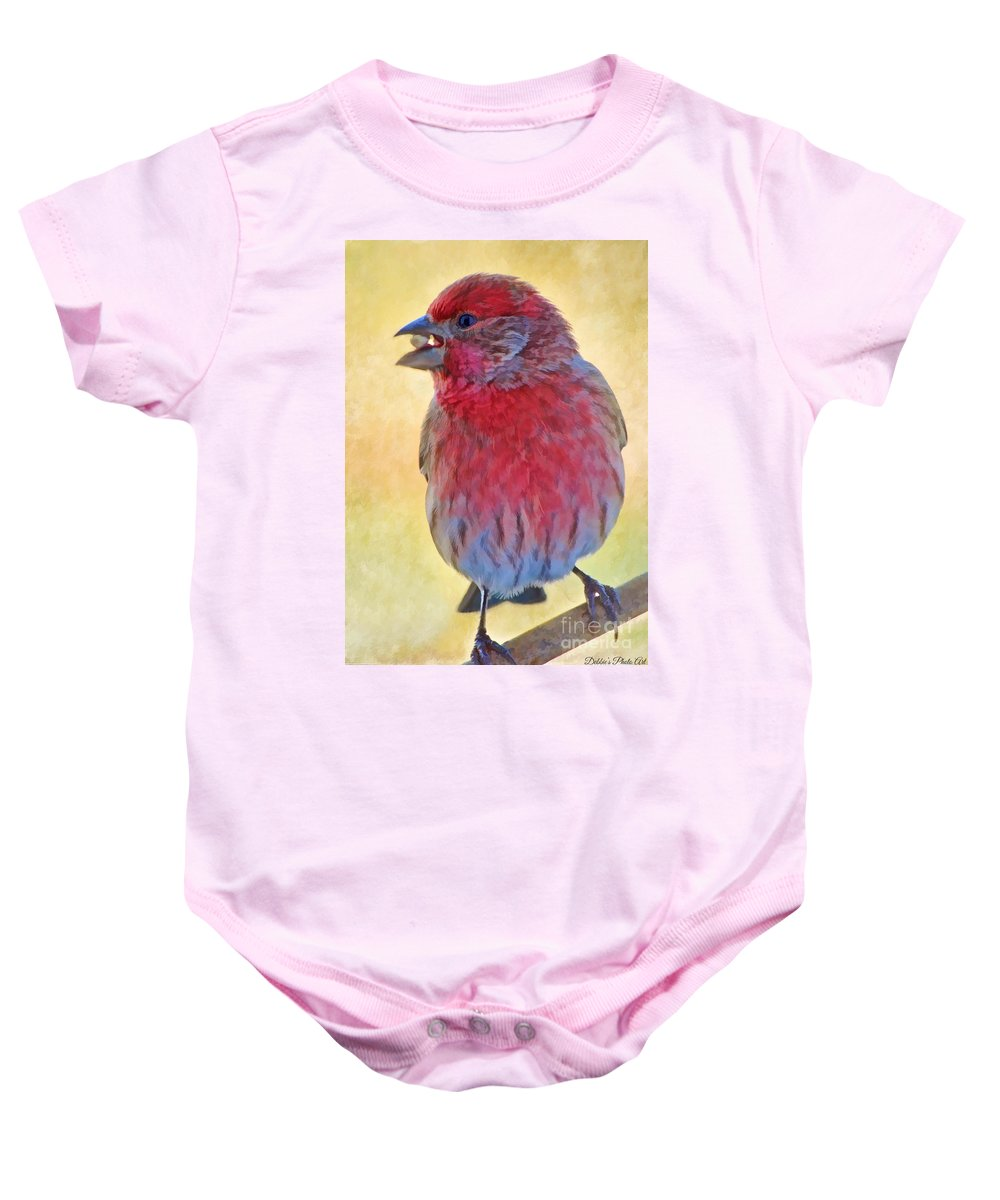Birds Baby Onesie featuring the photograph Male Housefinch - Digital Paint by Debbie Portwood