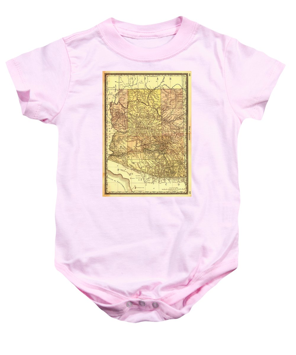 Map Baby Onesie featuring the drawing Map Of Arizona 1883 by Mountain Dreams