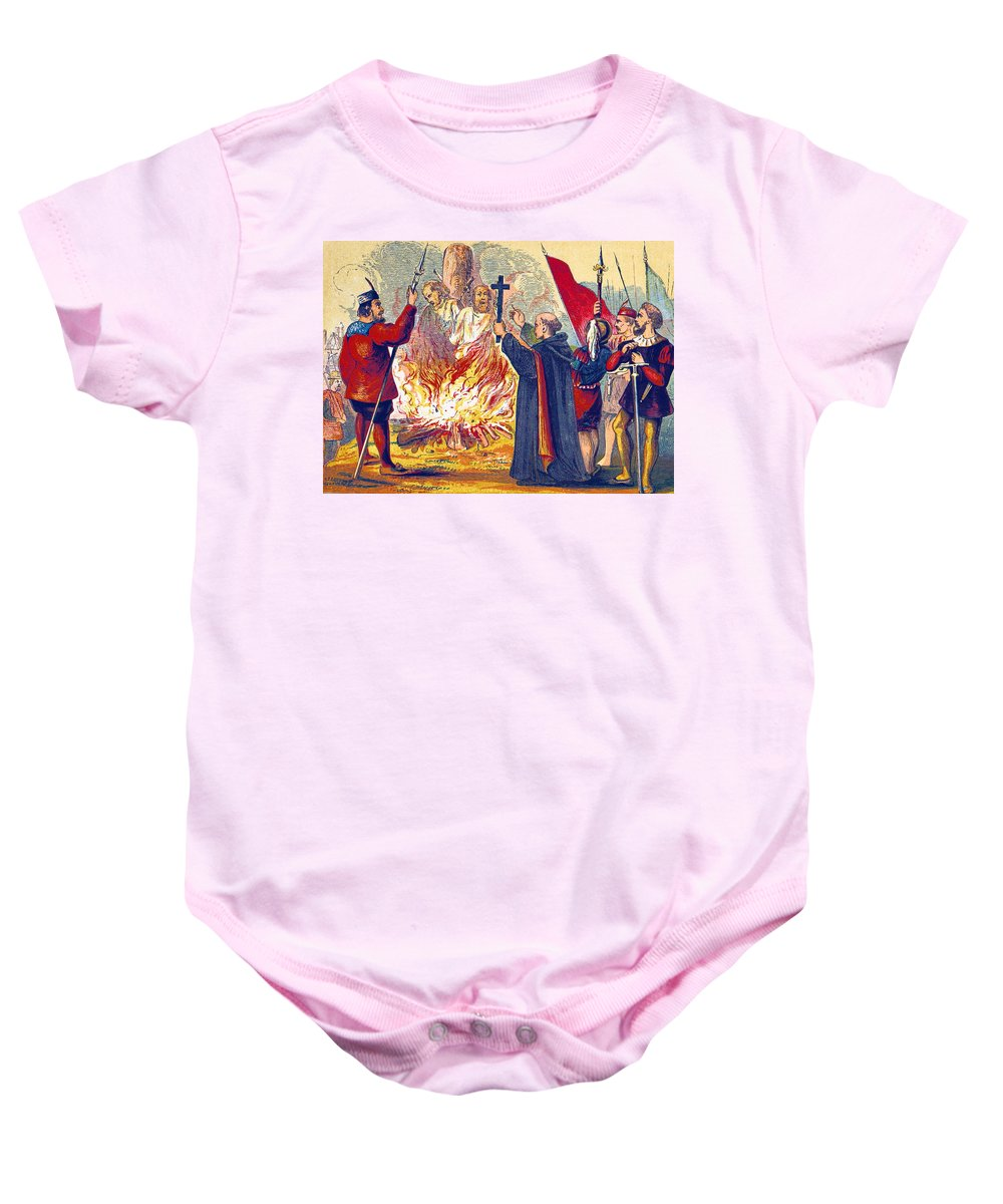Religion Baby Onesie featuring the photograph Martyrdom Of Ridley And Latimer, 1555 by British Library