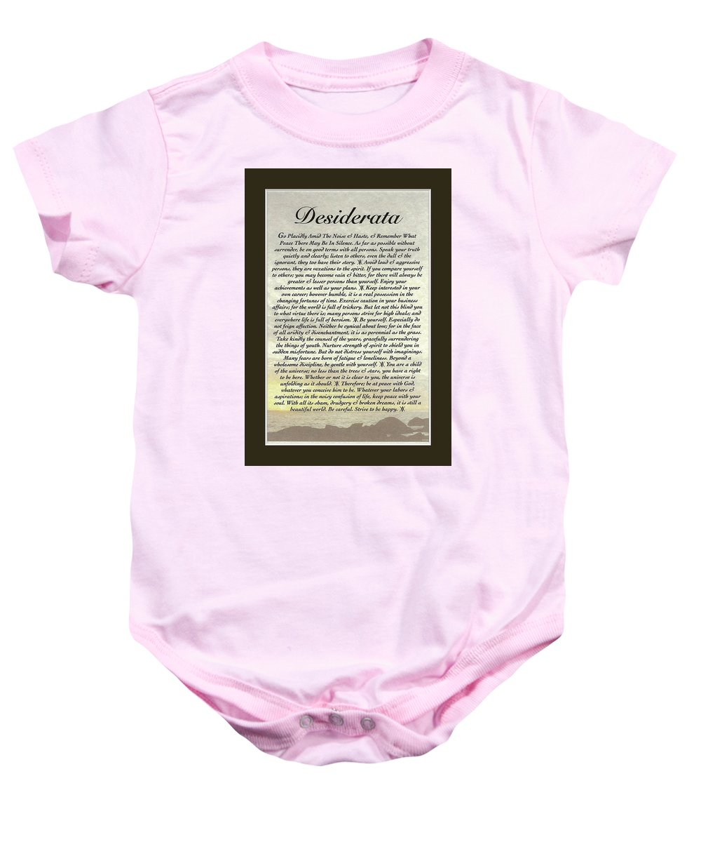 Desiderata Baby Onesie featuring the mixed media Matted Ocean Sunset Desiderata Poster by Desiderata Gallery