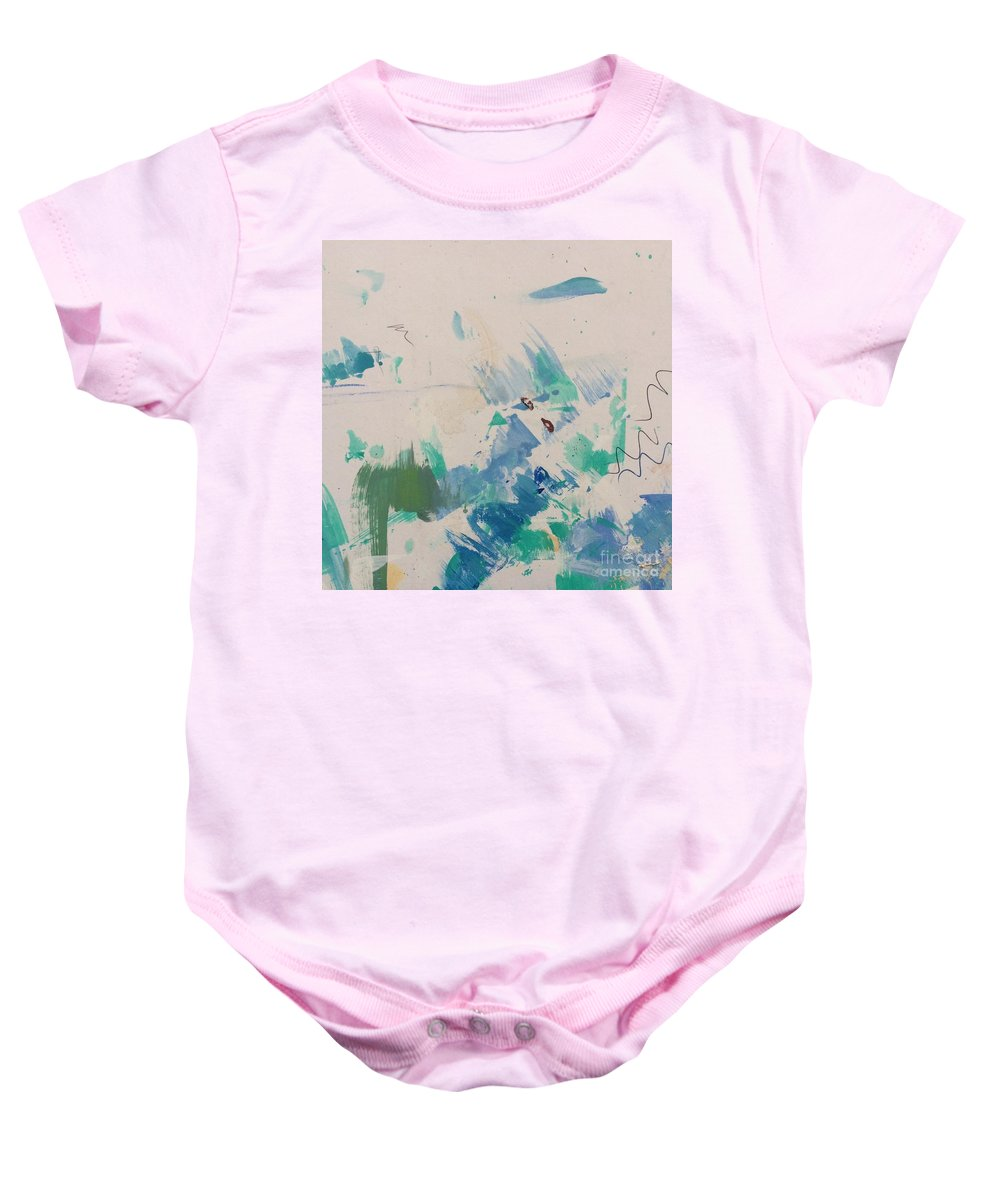 Acrylic Baby Onesie featuring the painting Minimal Blue by Robin Maria Pedrero