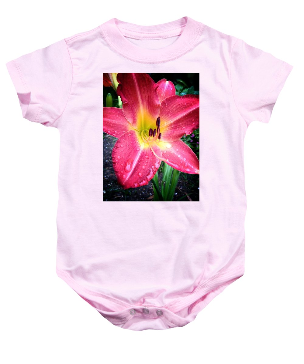 Daylilly Baby Onesie featuring the photograph Mom's Secret Garden by John Duplantis