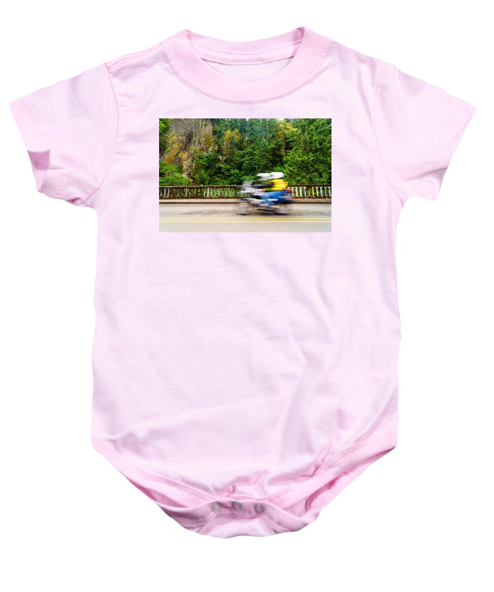 Motorcycle Baby Onesie featuring the photograph Motorcycle And Green Forest by Jess Kraft