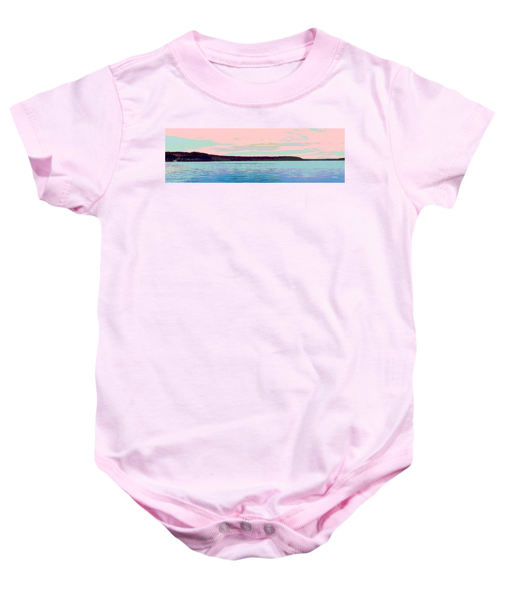 Abstract Baby Onesie featuring the digital art Mukilteo Clinton Ferry Panel 1 Of 3 by James Kramer