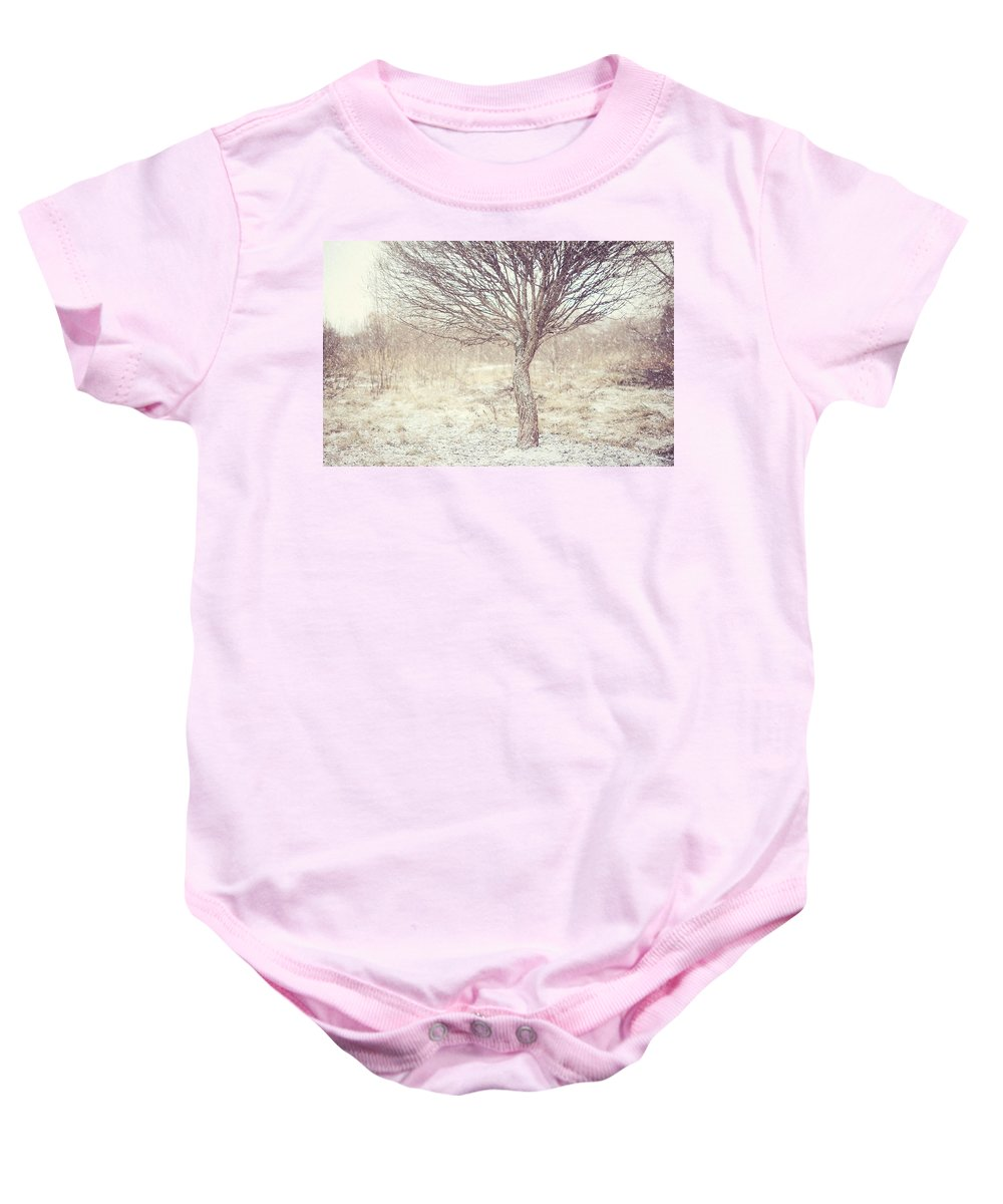 Winter Baby Onesie featuring the photograph Naked Willow Tree. Winter Poems by Jenny Rainbow