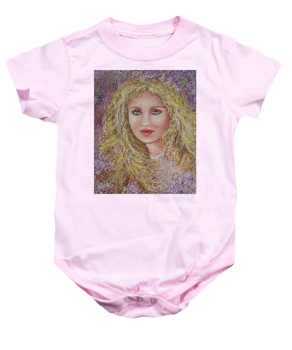 Portrait Baby Onesie featuring the painting Natalie In Lilacs by Natalie Holland