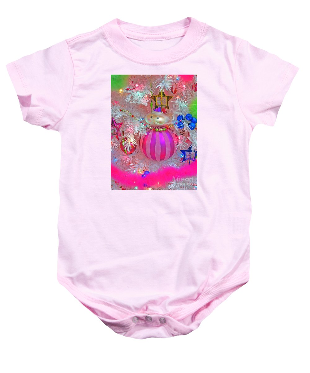 Christmas Baby Onesie featuring the photograph Neon Holiday Tree by Ann Horn