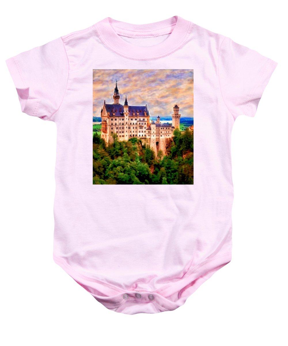 Hohenschwangau Baby Onesie featuring the painting Neuschwanstein Castle by Michael Pickett