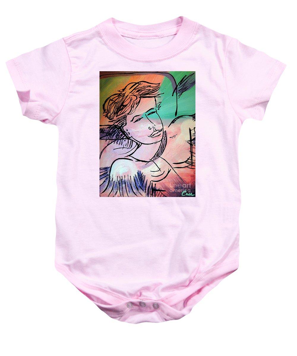 Nicole Gullata I Love You Baby Onesie featuring the painting Nicole Gullata I Love You by Feile Case