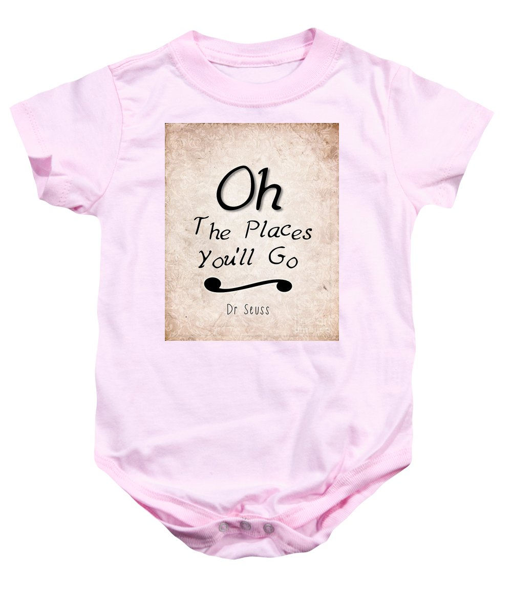 Dr Seuss Baby Onesie featuring the photograph Oh The Places You'll Go by Pati Photography
