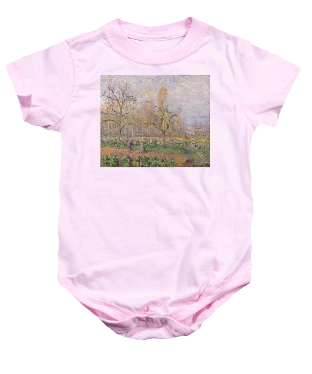 Verger A Pontoise; Landscape; Tree; Gardening; Gardener; Daily Life Scene; Tree; Trees; Vegetable Garden; Ile-de-france; Impressionist Baby Onesie featuring the painting Orchard At Pontoise by Camille Pissarro