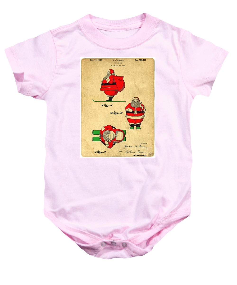Santa Baby Onesie featuring the digital art Original Patent For Santa On Skis Figure by Edward Fielding