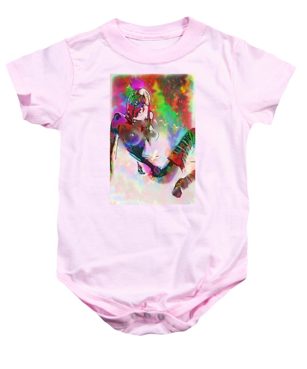 Color Colorful Girl Female Woman Nude Naked Boobs Tits Stocking Lingerie Erotic Sensual Mystic Fantasy Painting Baby Onesie featuring the painting Out Off The Twilight Zone by Steve K