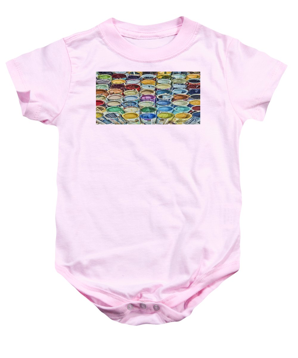 Baby Onesie featuring the photograph Paint Cans by James Ekstrom