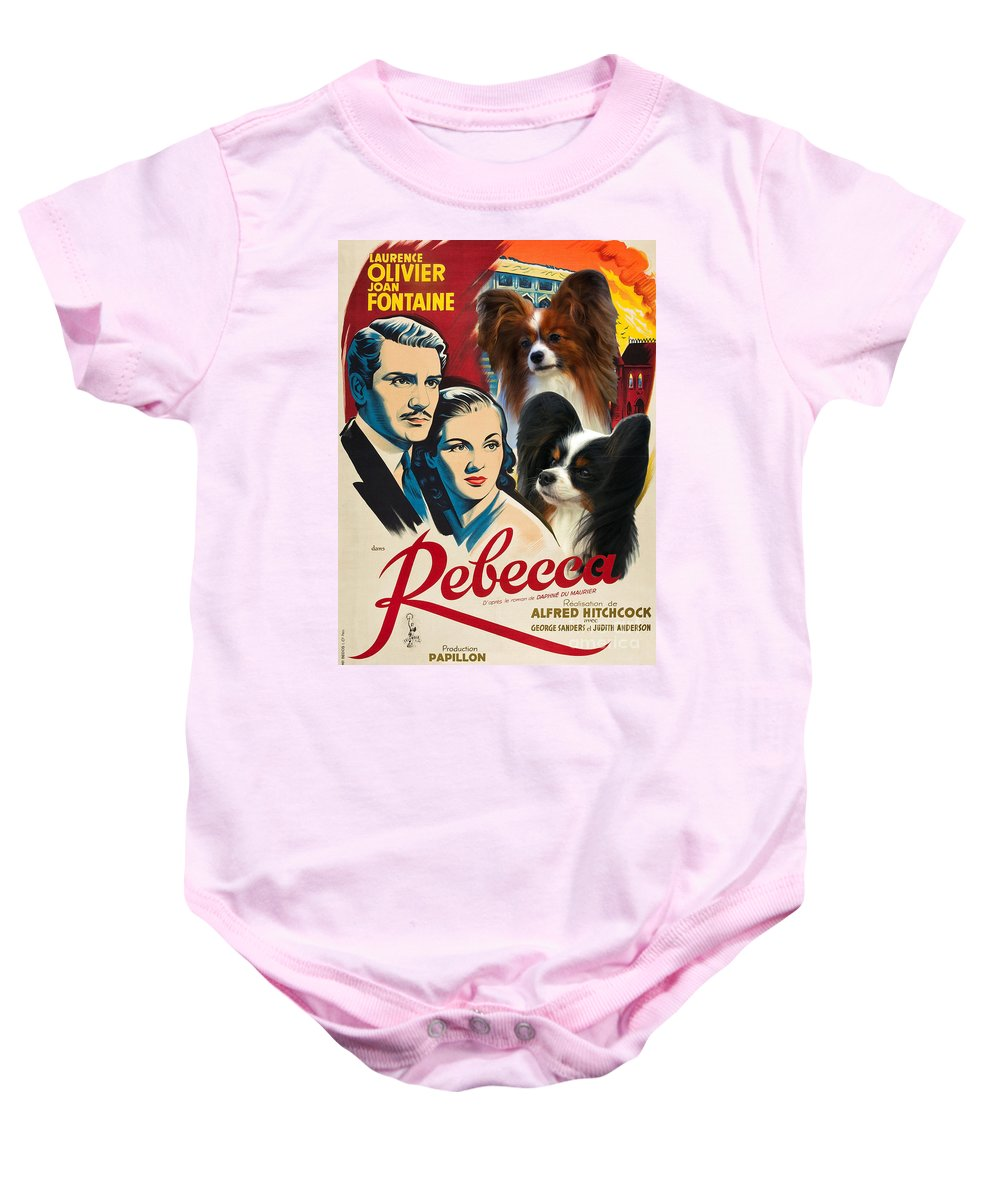 Dog Baby Onesie featuring the painting Papillon Art - Rebecca Movie Poster by Sandra Sij