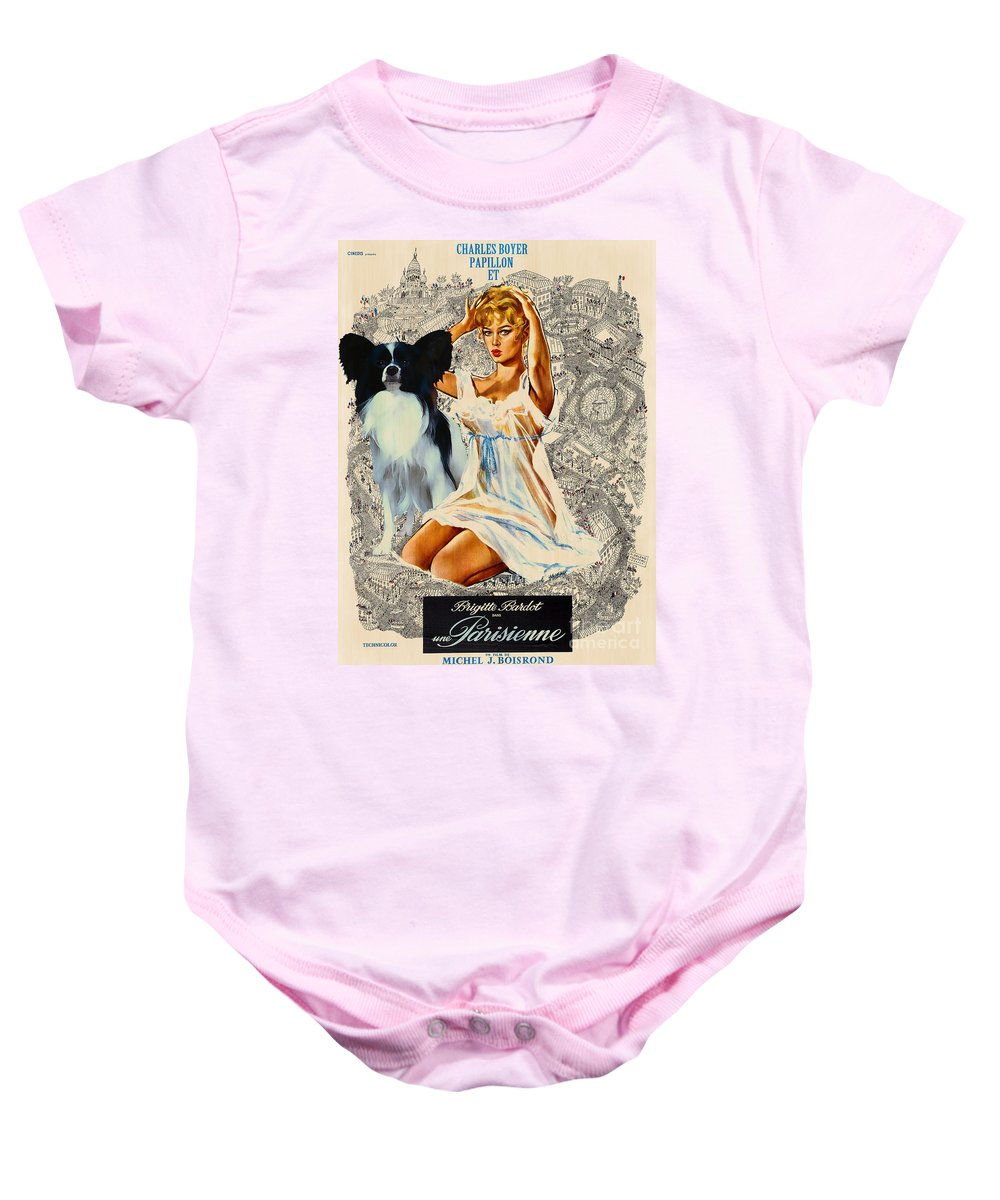 Dog Baby Onesie featuring the painting Papillon Art - Una Parisienne Movie Poster by Sandra Sij