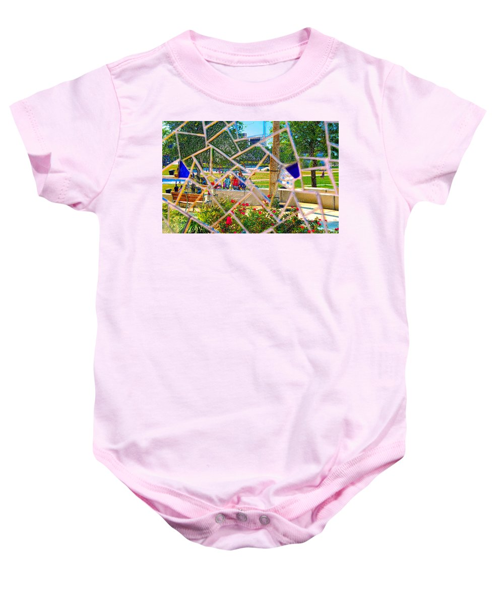 Park Baby Onesie featuring the painting Park Reflections by David Lee Thompson