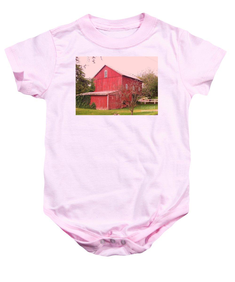 Pennsylvania Baby Onesie featuring the photograph Pennsylvania Barn Cira 1700 by Eric Schiabor