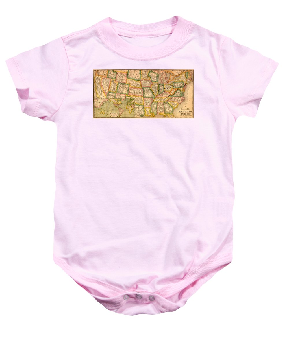 Map Baby Onesie featuring the drawing Pennsylvania Railroad Map 1879 by Mountain Dreams
