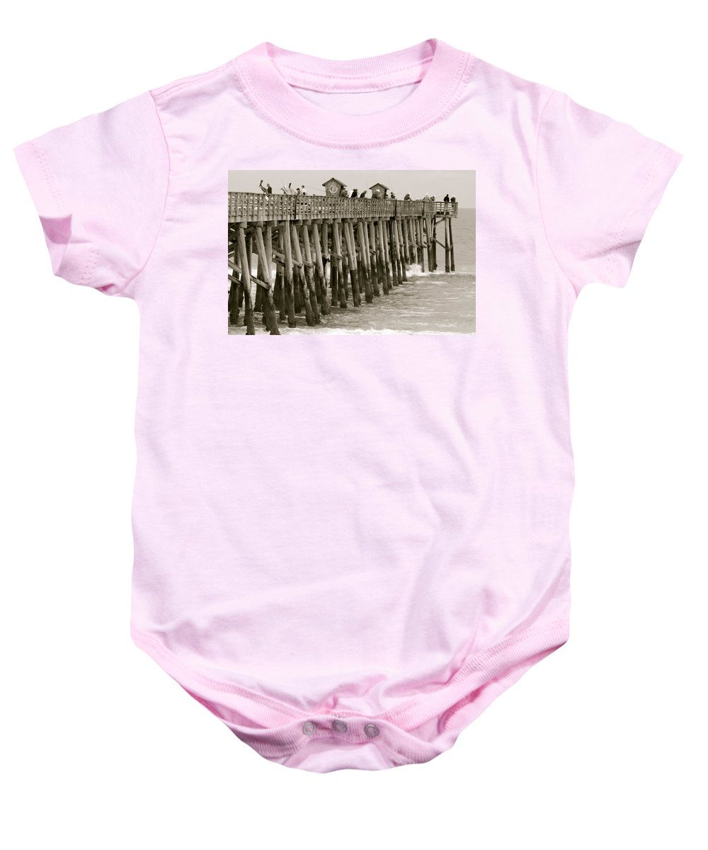 Flagler Beach Florida Pier Scenic Baby Onesie featuring the photograph Pier View by Alice Gipson