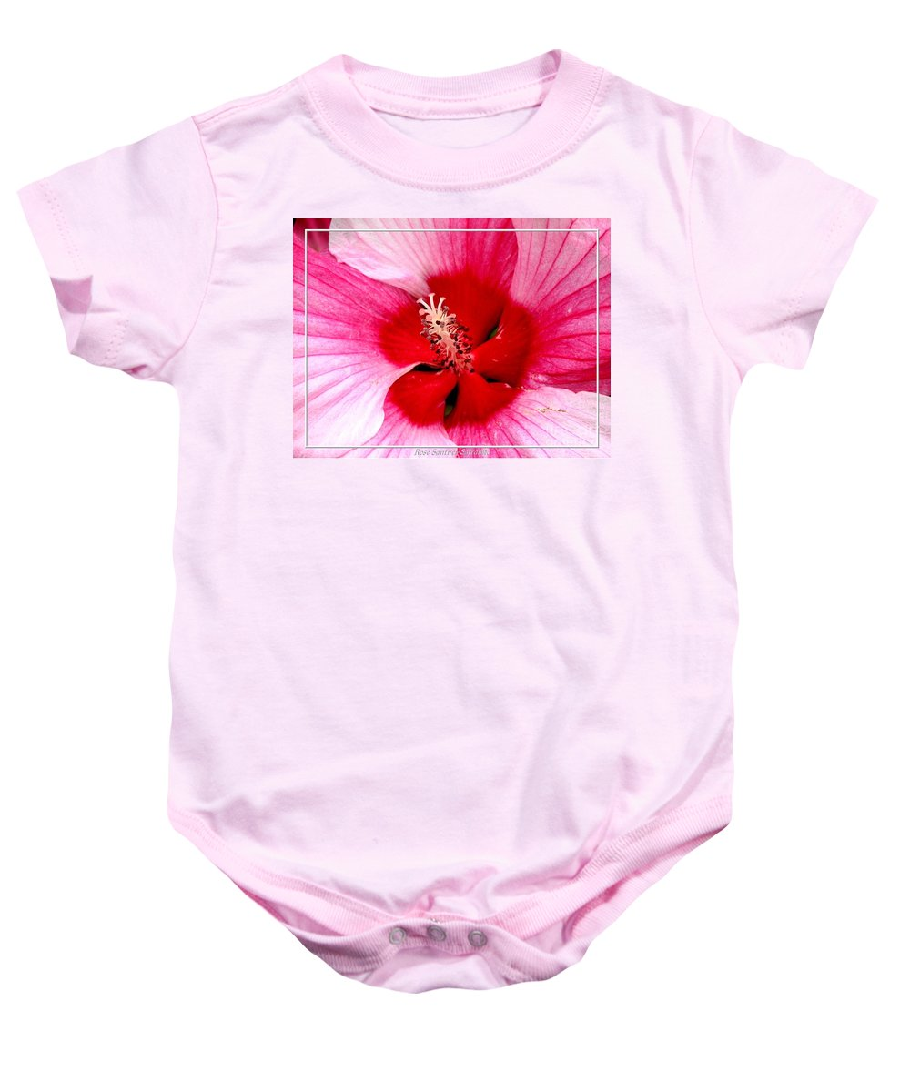 Hibiscus Baby Onesie featuring the photograph Pink And Red Hibiscus Flower by Rose Santuci-Sofranko
