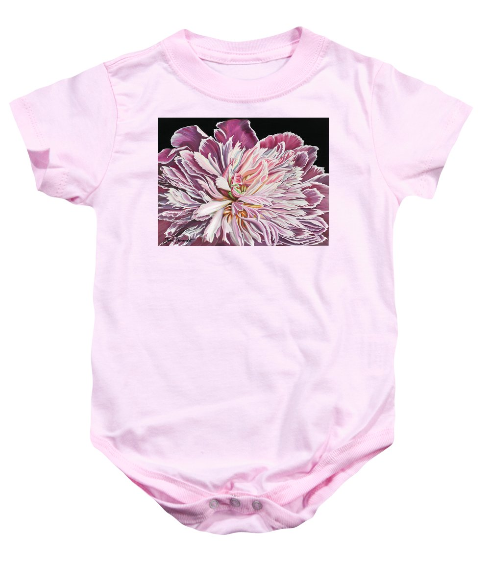 Flower Baby Onesie featuring the painting Pink Peony by Jane Girardot