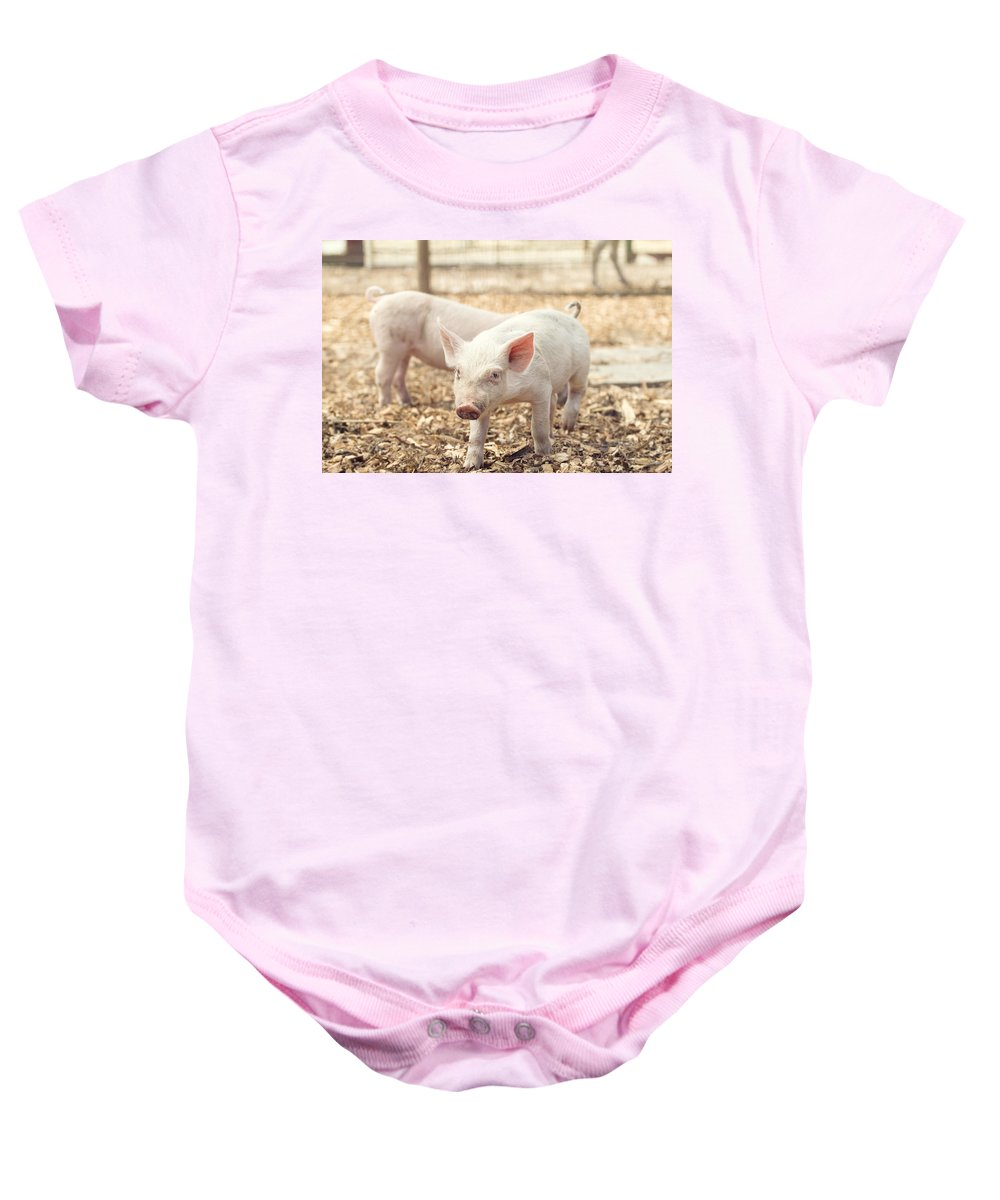 Pig Baby Onesie featuring the photograph Pink Piglet by Stephanie McDowell