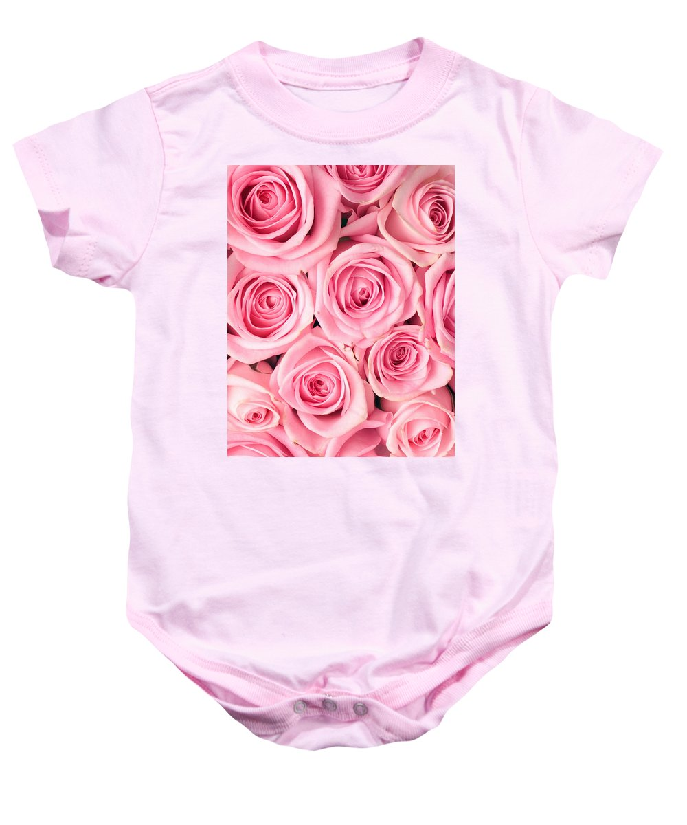 Pink Baby Onesie featuring the photograph Pink Roses by Munir Alawi