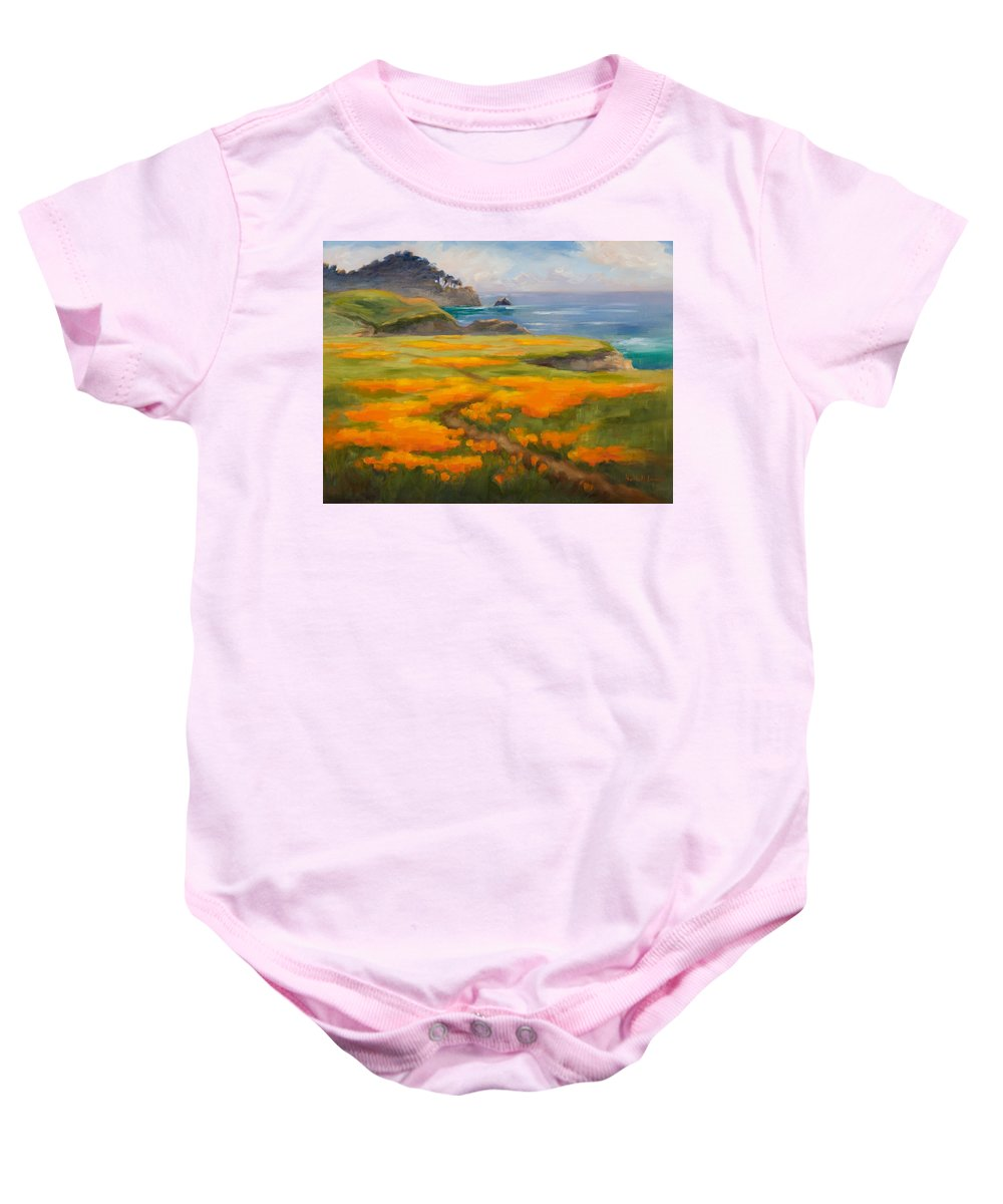 Point Lobos Baby Onesie featuring the photograph Point Lobos Poppies by Karin Leonard