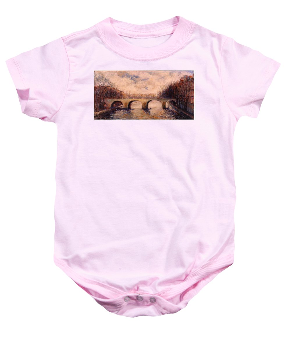 Paris Baby Onesie featuring the painting Pont Sur La Seine by Walter Casaravilla