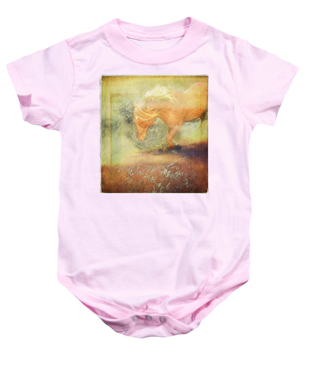 Pony Baby Onesie featuring the photograph Pony In The Grasses by Alice Gipson