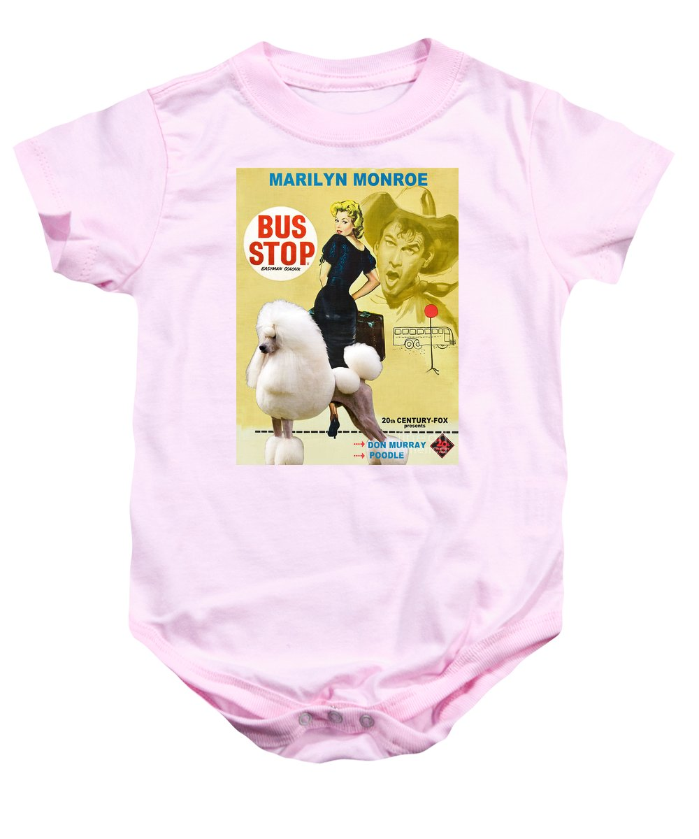 Dog Baby Onesie featuring the painting Poodle Standard Art - Bus Stop Movie Poster by Sandra Sij