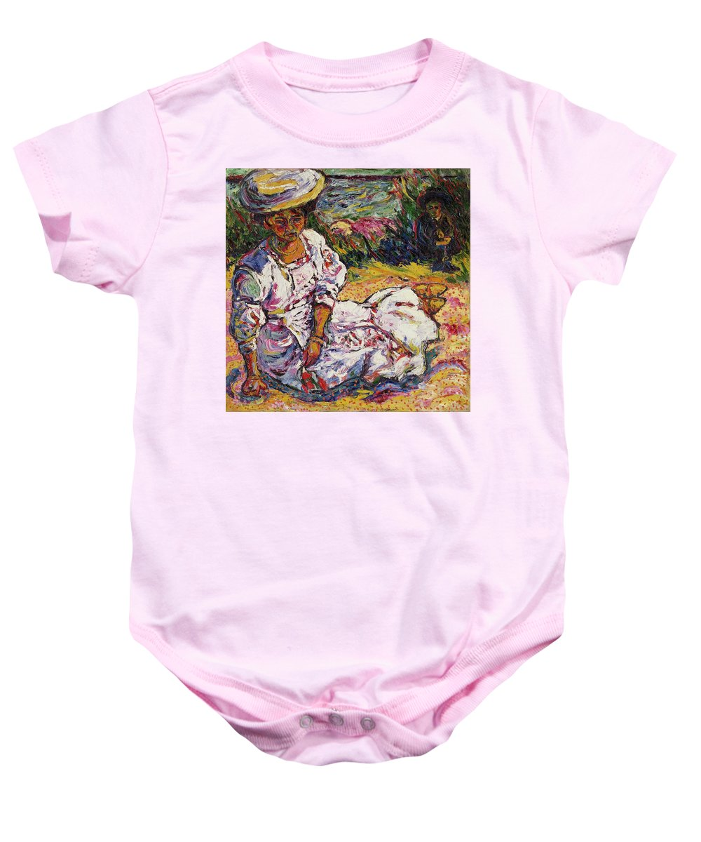 Female Baby Onesie featuring the painting Portrait Of A Woman by Ernst Ludwig Kirchner