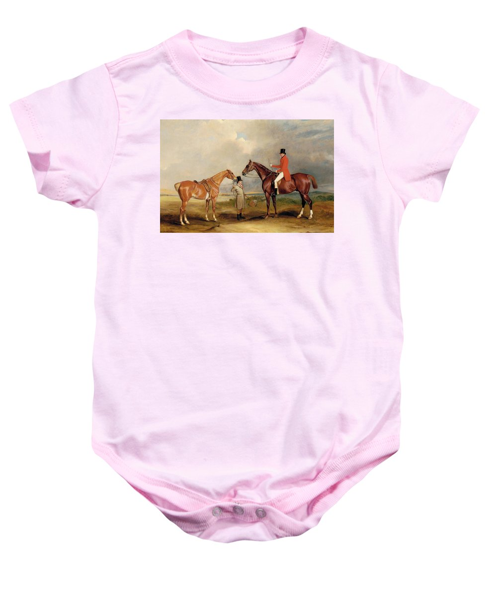 Horse Baby Onesie featuring the painting Portrait Of John Drummond On A Hunter With A Groom Holding His Second Horse by John E Ferneley
