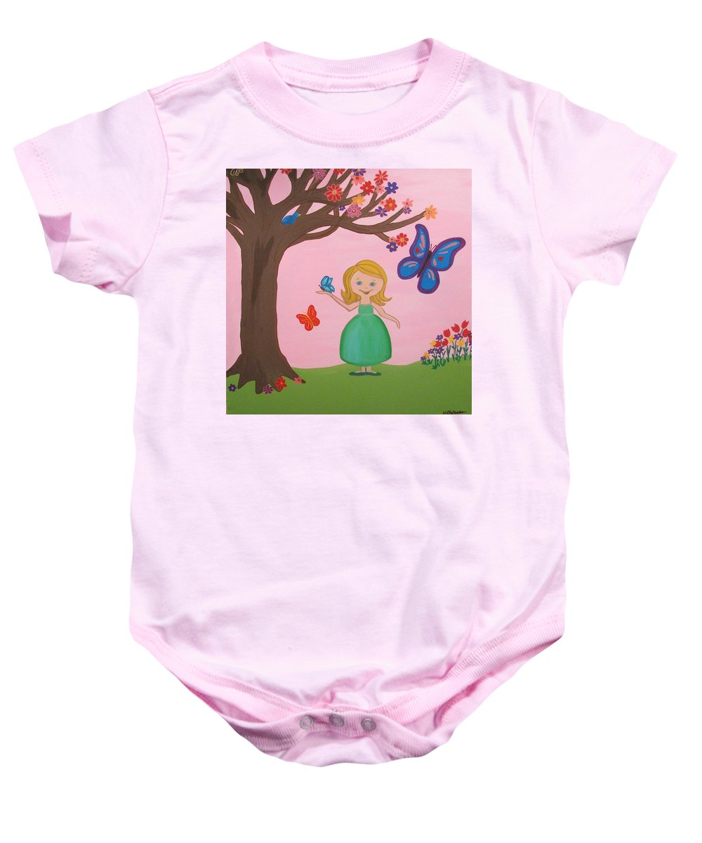 Girls Room Baby Onesie featuring the painting Princess Amma Belle by Kelly Simpson