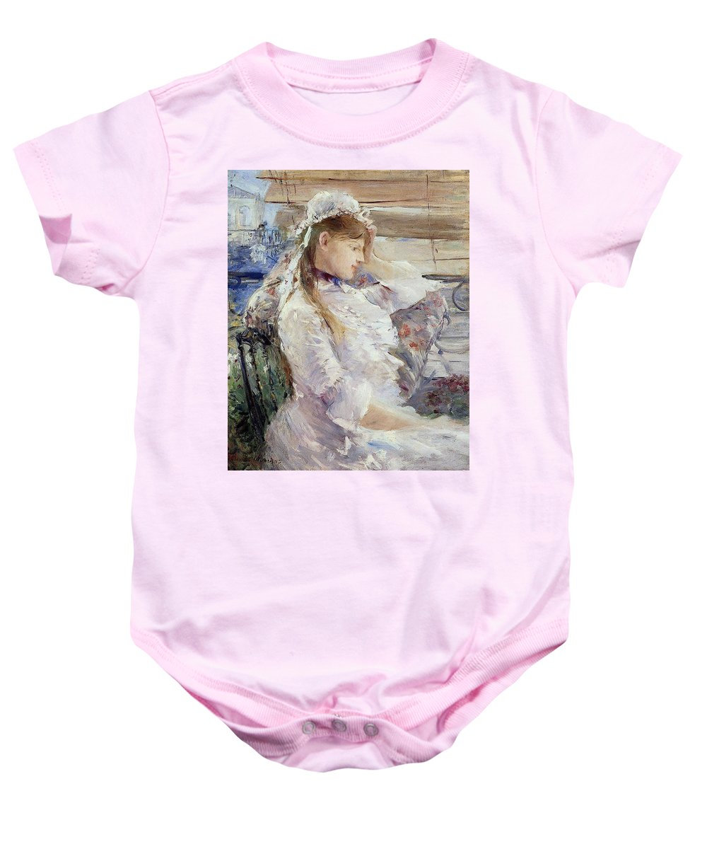 Female; Portrait; Half Length; White Dress; Gown; Impressionist; Outside; Bonnet; Frills; Frilly Baby Onesie featuring the painting Profile Of A Seated Young Woman by Berthe Morisot