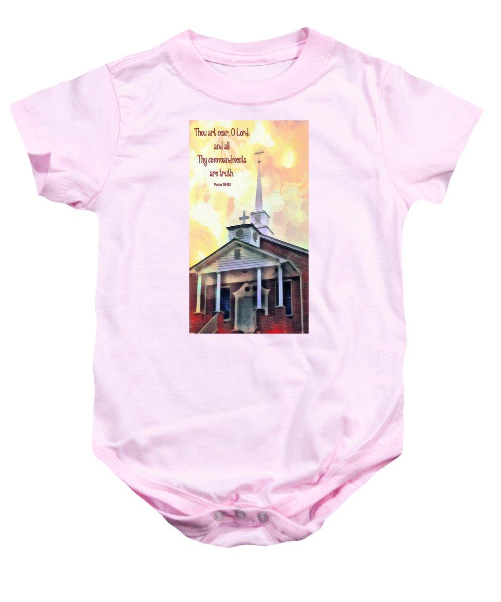 Cross Baby Onesie featuring the digital art Psalm 119 151 by Michelle Greene Wheeler