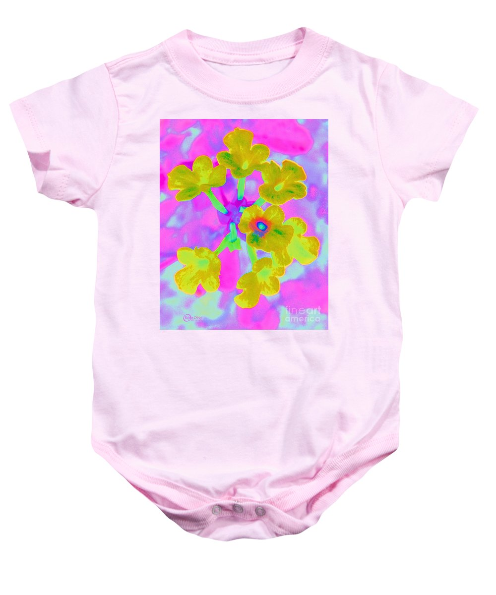 Lantana Baby Onesie featuring the photograph Psychedelic Lantana by Robert ONeil