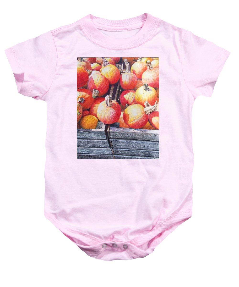 Pumpkins Baby Onesie featuring the painting Pumpkins by Constance Drescher