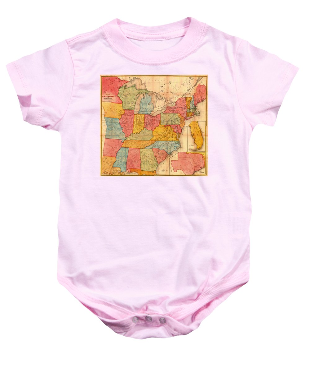 Map Baby Onesie featuring the drawing Railroad Map Of The United States 1852 by Mountain Dreams