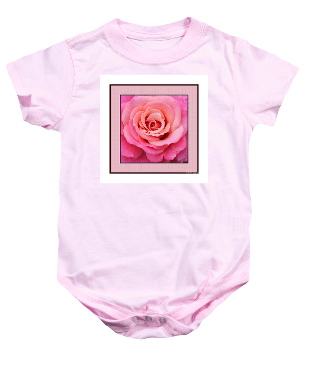 Rainy Day Rose Square Baby Onesie featuring the photograph Rainy Day Rose Square by Barbara Griffin