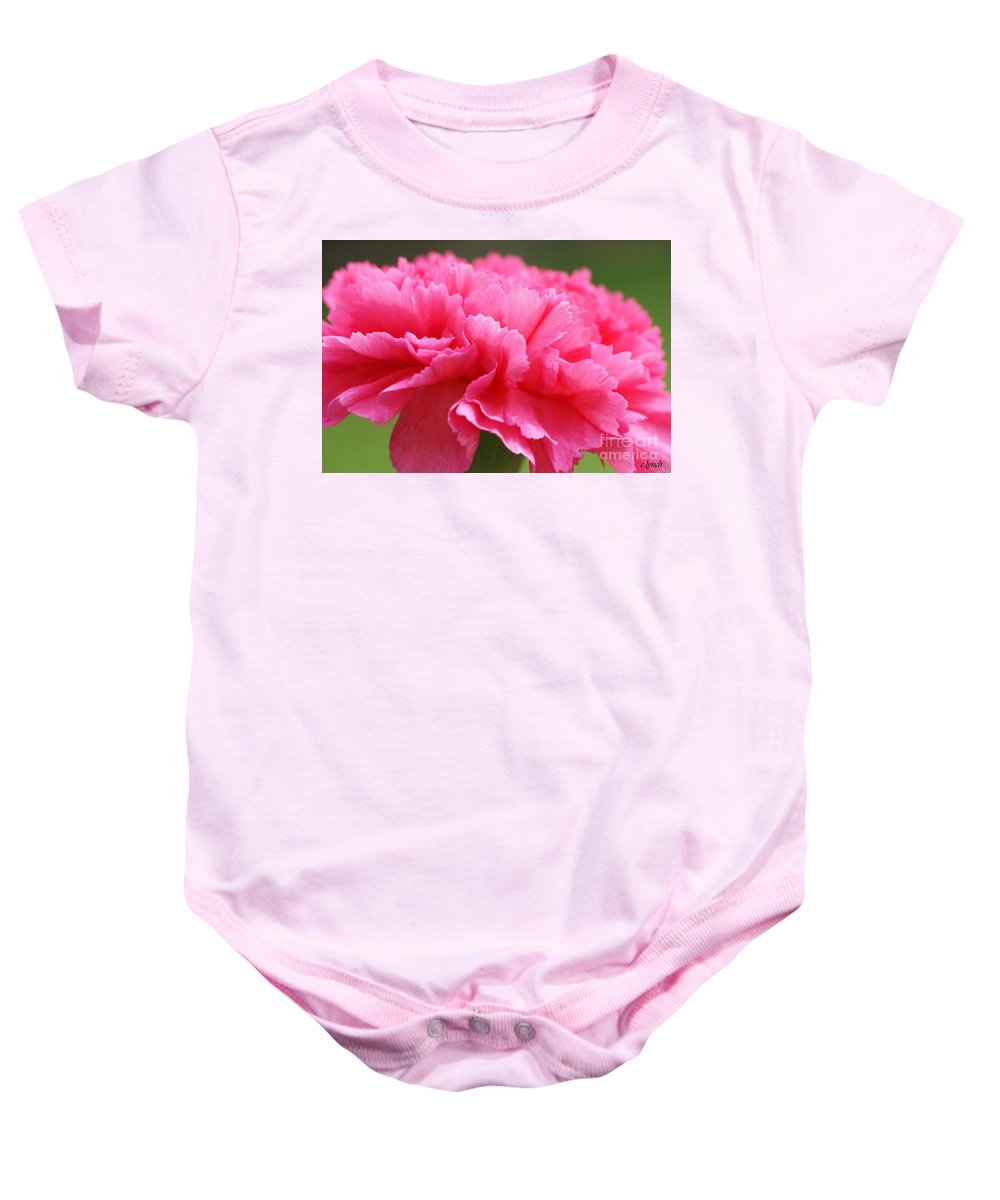 Carnation Baby Onesie featuring the photograph Red Carnation by Carol Lynch